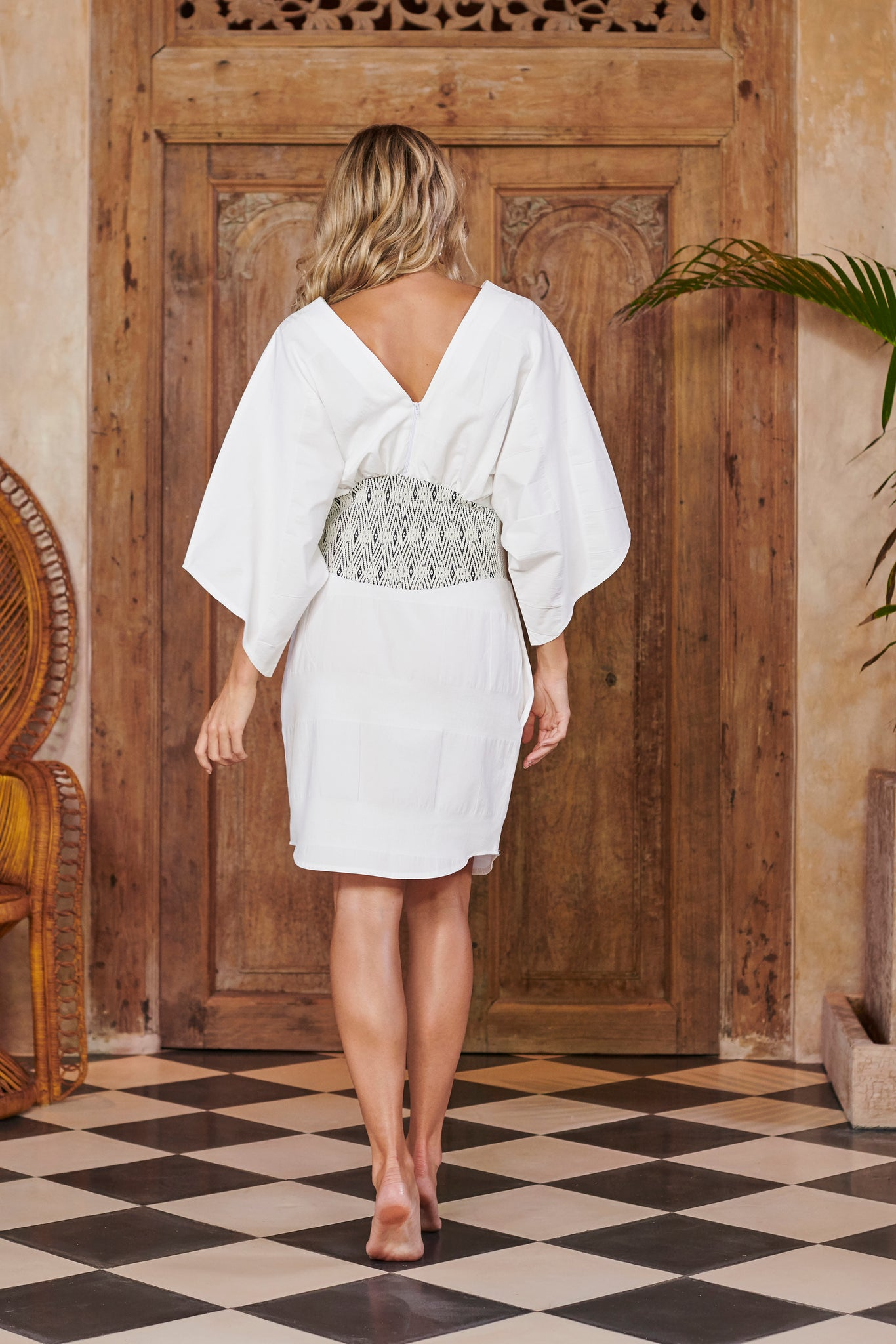 Goddess White Cotton Kimono Dress