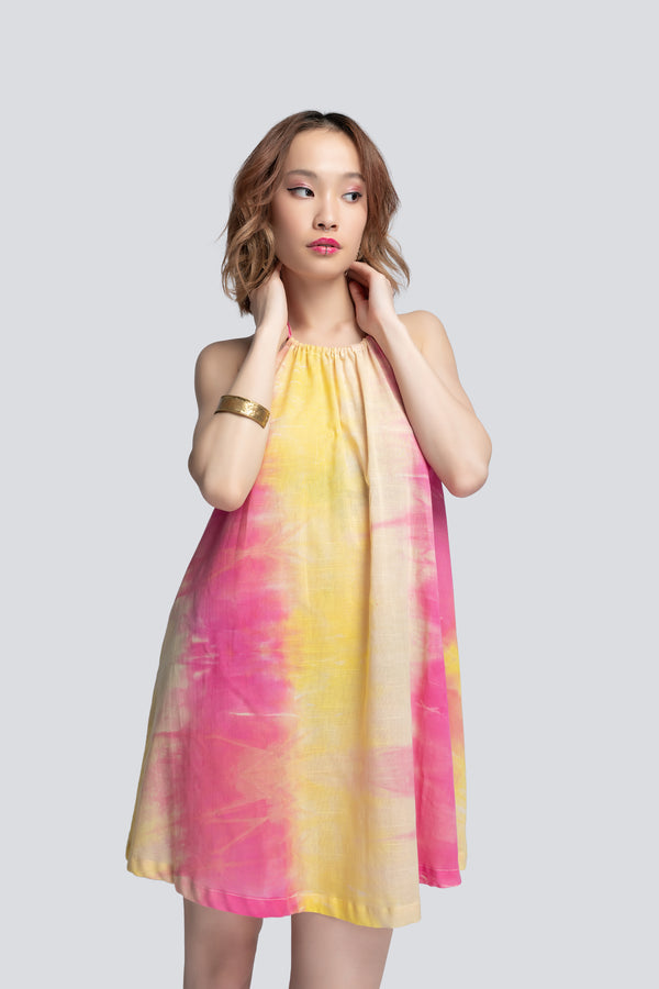 Halterneck Beach Dress in Tie Dye Cotton
