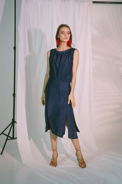 Agape Midi Dress in Navy Silk Cotton