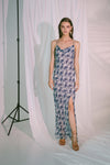 Ladder Of Love Cowl Slip Dress in Ink Blue