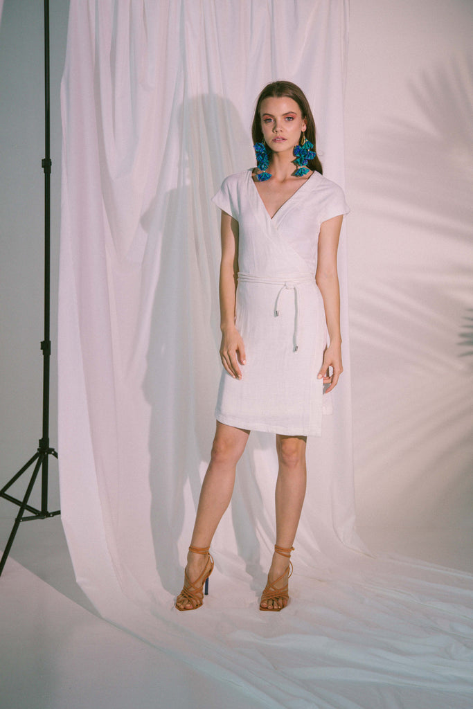 Pragma Wrap Dress in White