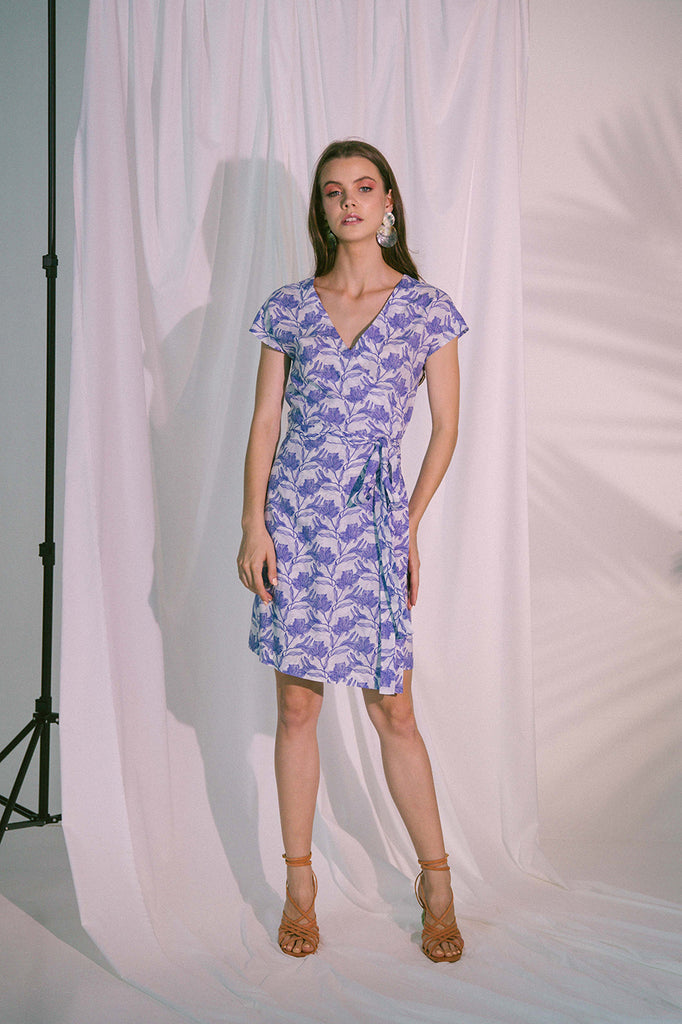 Pragma Wrap Dress in Blue Biro
