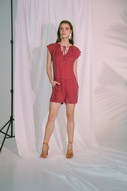 Plato Playsuit in Claret