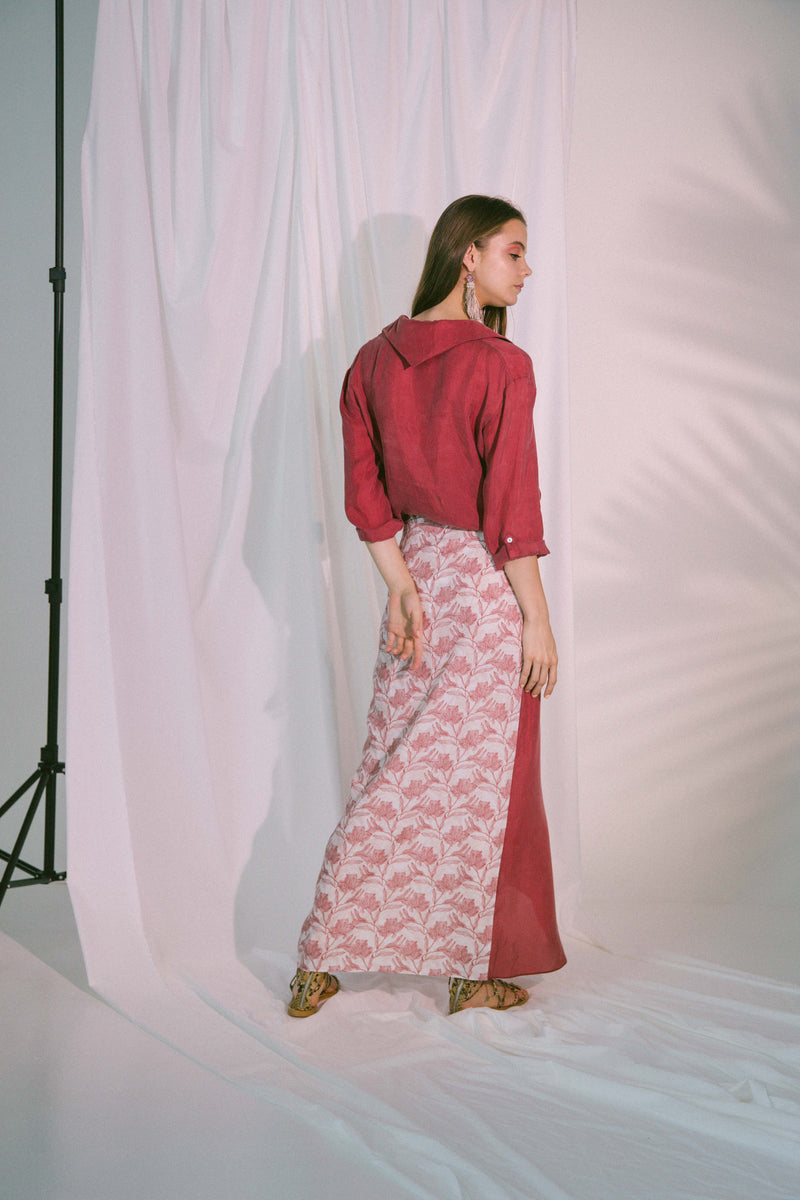 Virtue Wrap Skirt in Claret