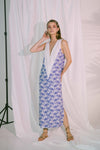 V-Neck Two Tone Beach Maxi Dress in Blue Biro