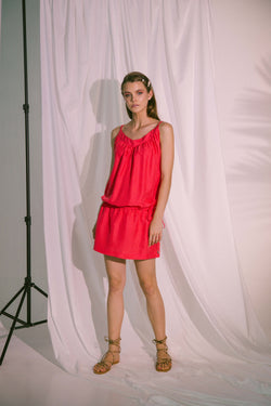 Ludus Beach Dress With Drawstring in Pink Red