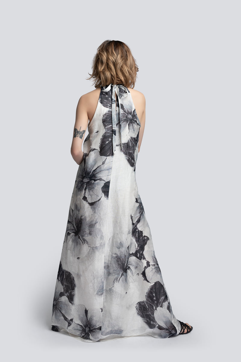 Halterneck Maxi Dress in Floral Print