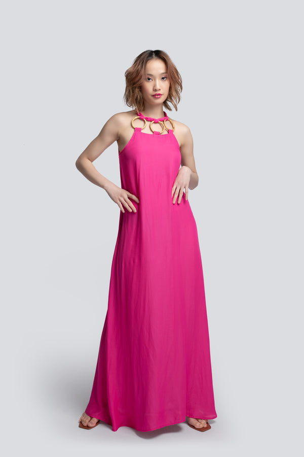 Halterneck Maxi Dress in Pink Polyester
