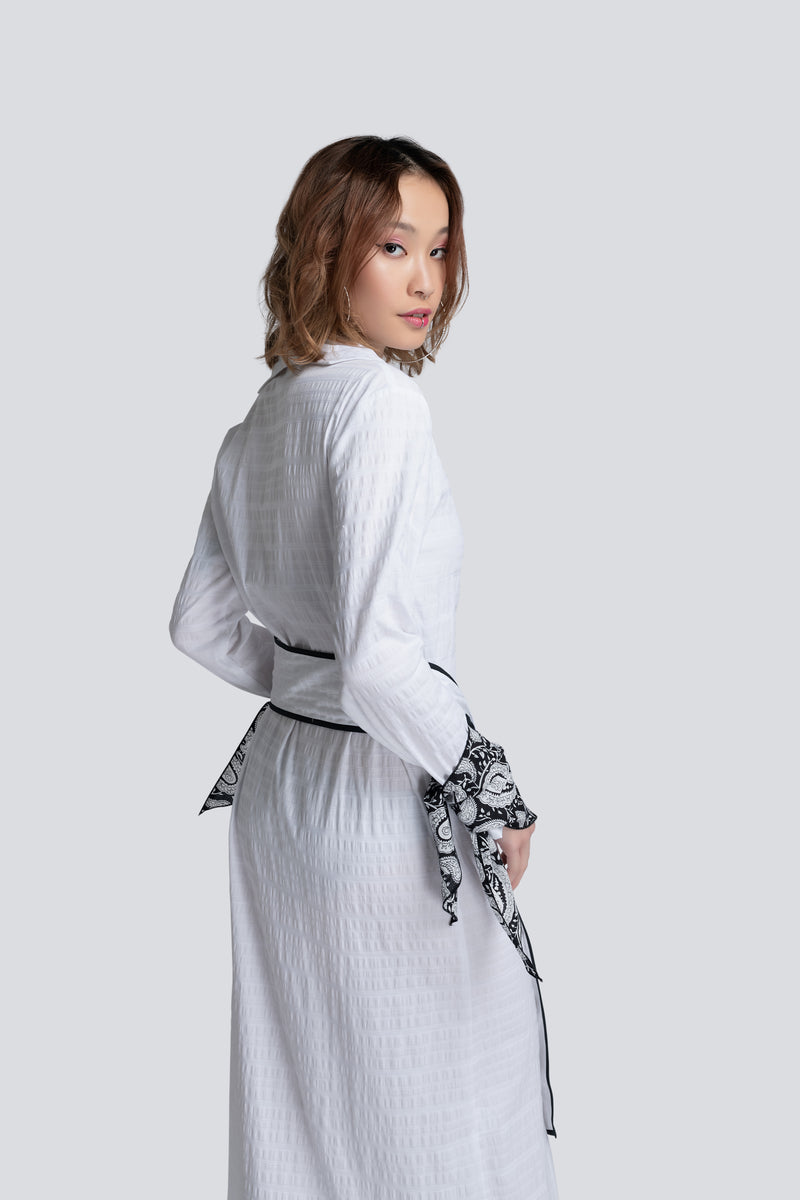 Long Shirt Dress in Textured White Cotton