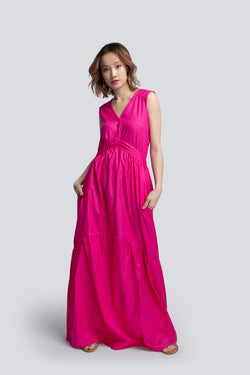 Tiered Maxi Dress in Pink Cotton