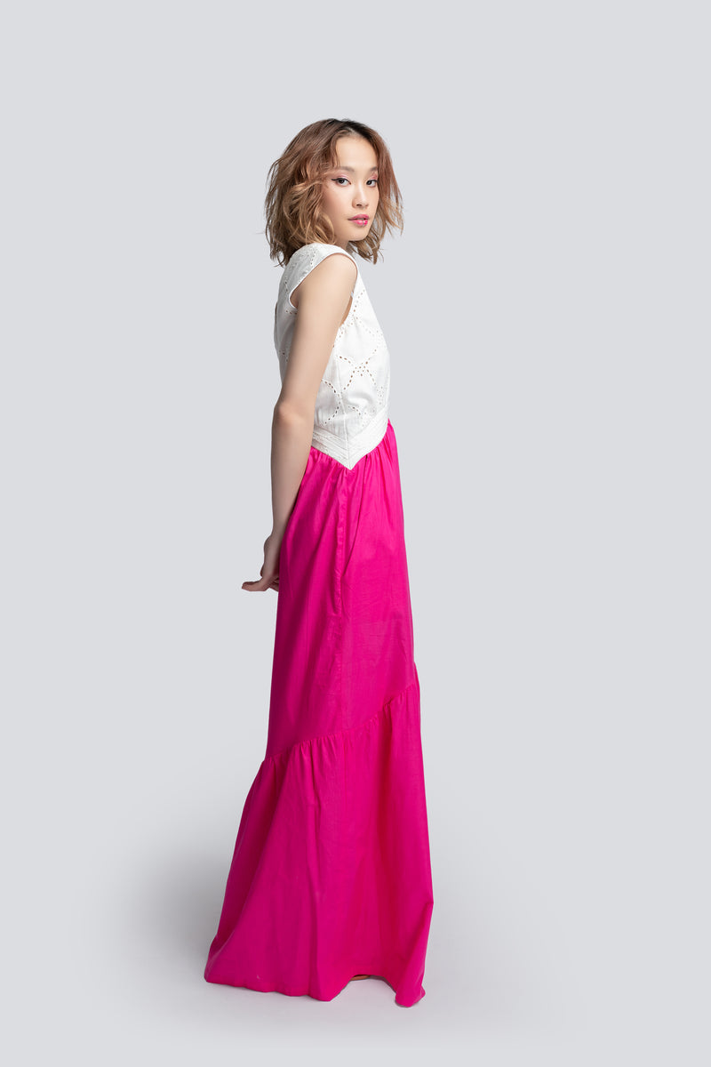 Tiered Maxi Dress in Two Tone Cotton