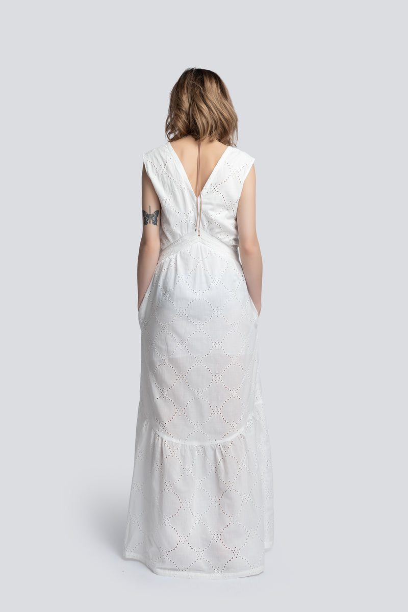 Tiered Maxi Dress in White Broderie Cotton
