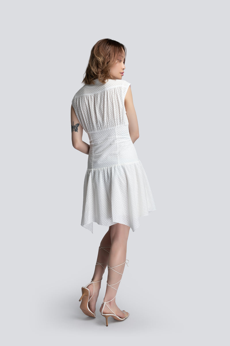 Short Corset Dress in White Broderie Cotton