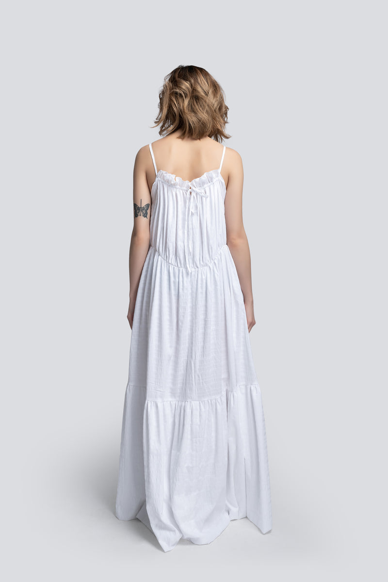 Mae Parachute Maxi Dress in White