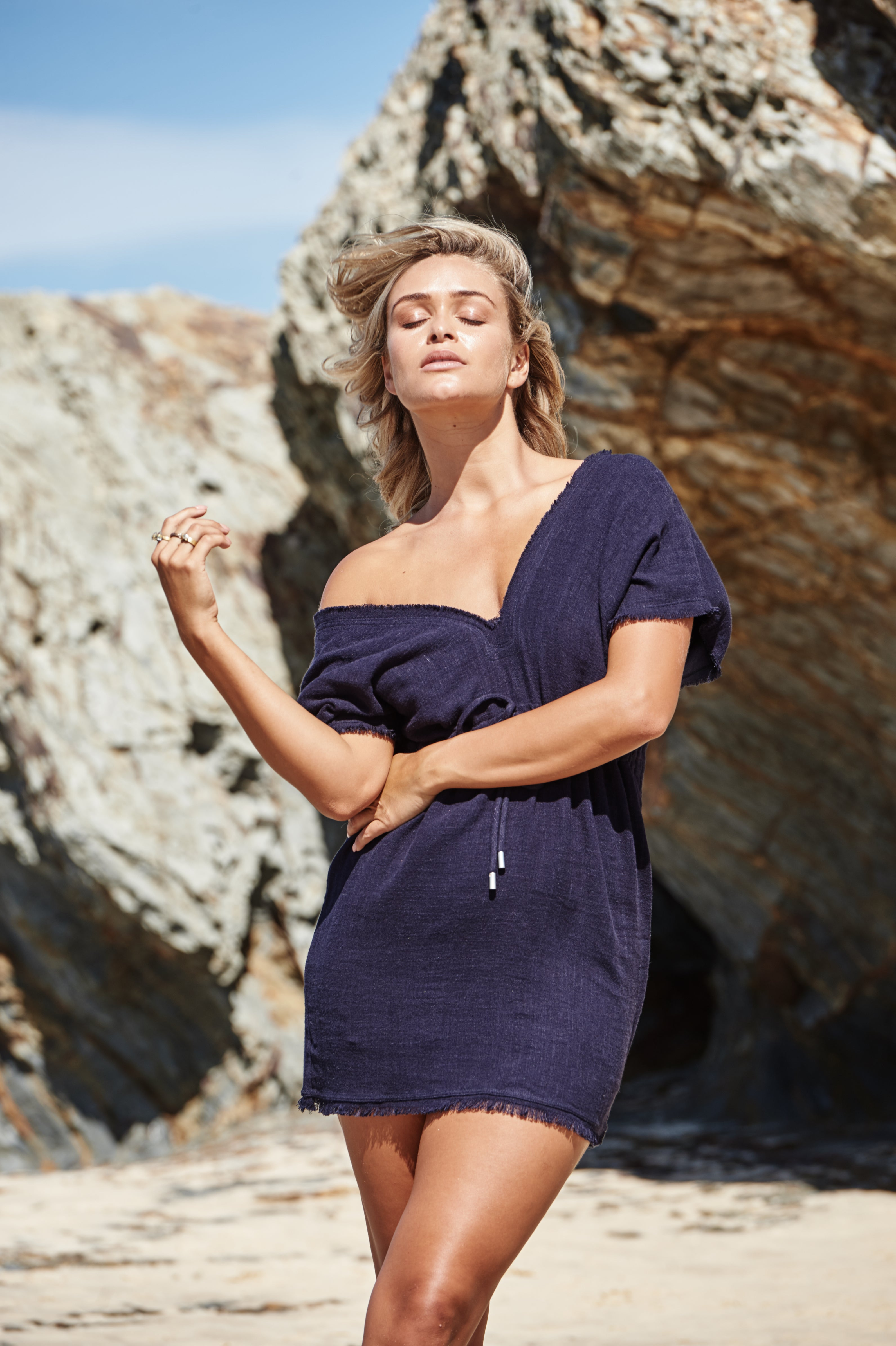 Akosee Navy Blue Beach Cover-up Kaftan Dress