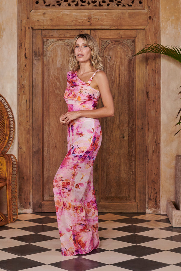 Nymph Pink Printed Silk Jumpsuit