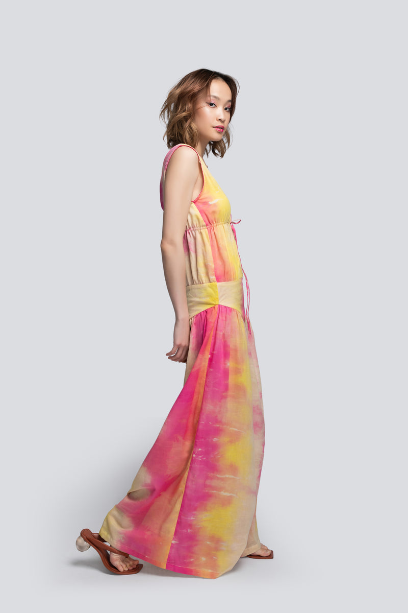 Olga Drawstring Maxi Dress in Tie Dye (Full Skirt)