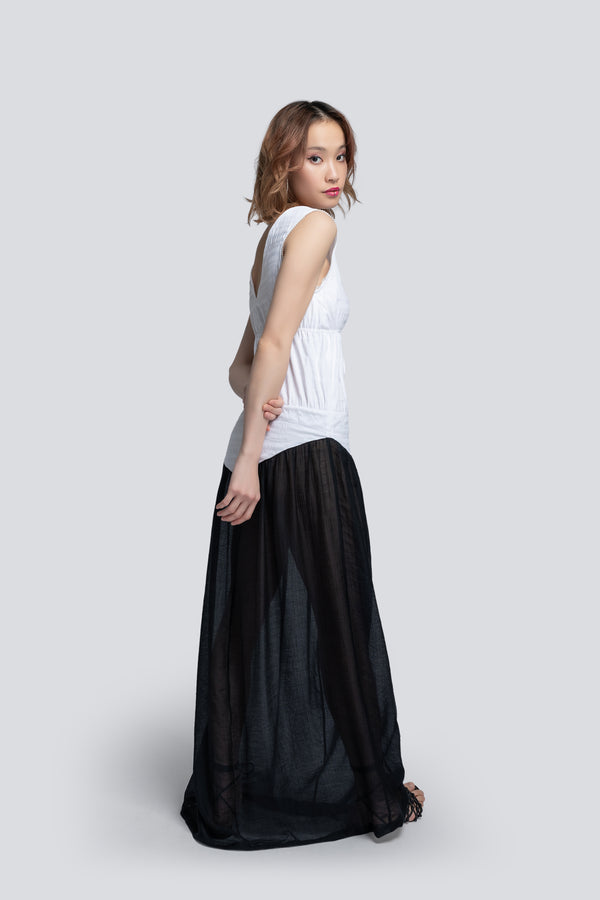 Drawstring Maxi Dress in Two Tone