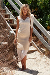 Luxury Silk Cotton Beige Ombre Overlay Slip Dress
