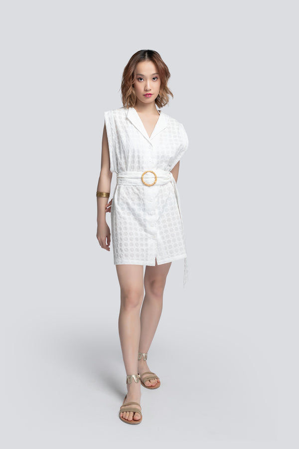 Short Belted Cover Up in White Broderie Cotton