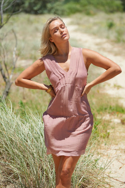 Akosee Bondi Luxury Silk Cotton Dress in Dusky Pink