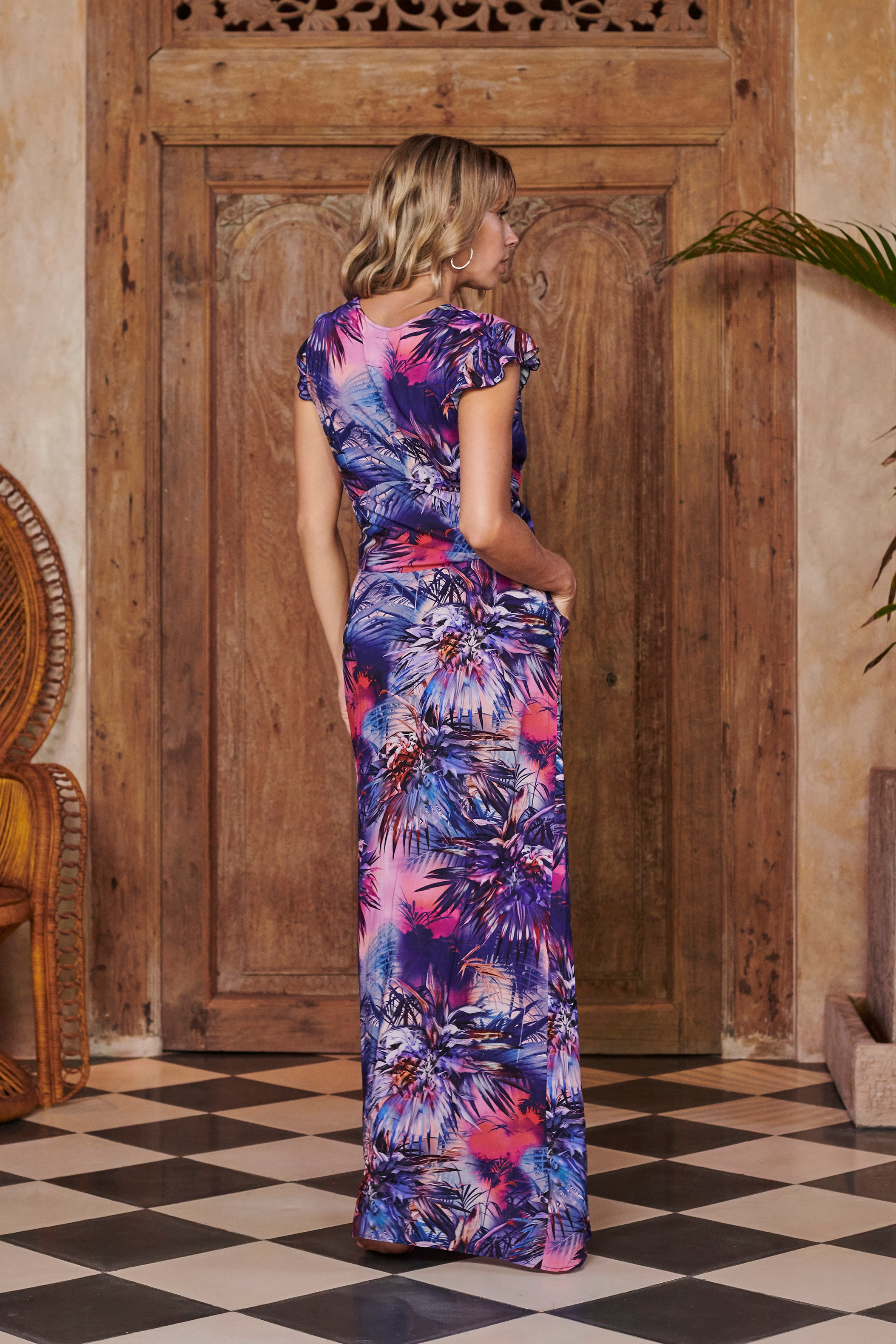 Queen Blue Printed Maxi Dress