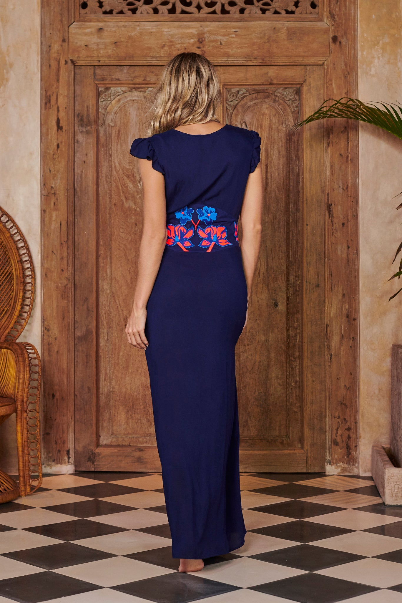 Queen Navy Blue Embroidered Maxi Dress