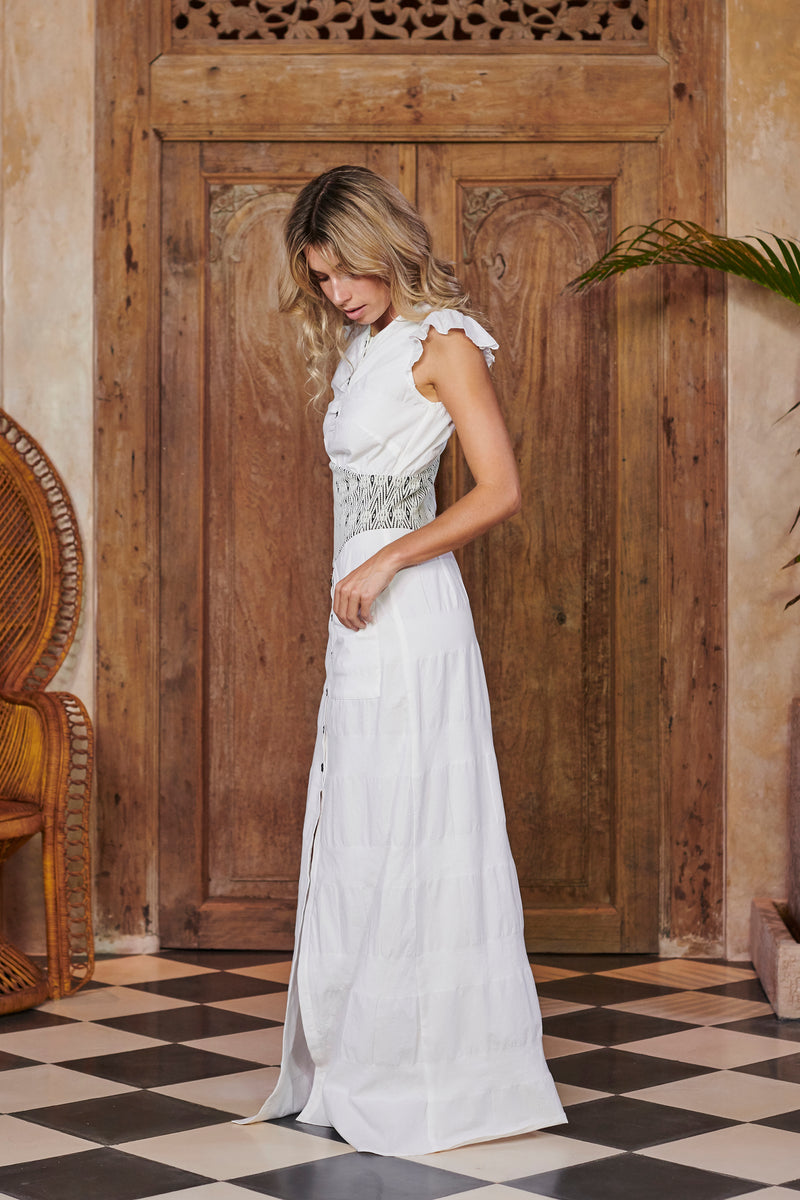 Queen White Cotton Maxi Dress