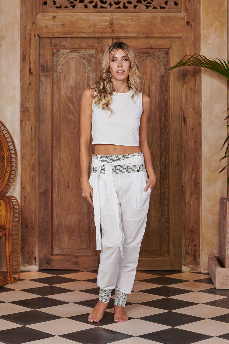 Queen White Cotton Trousers