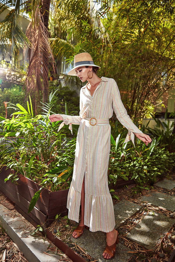 Jodi Maxi Shirt Dress in Striped Linen