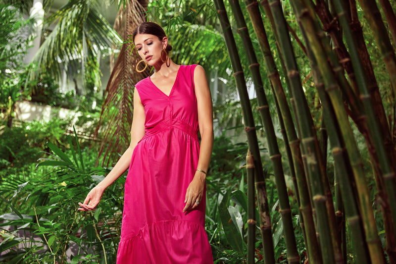 Kayla Tiered Maxi Dress in Pink