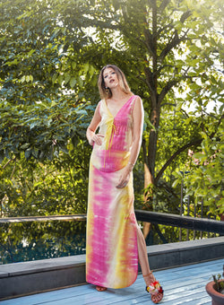 Olga Drawstring Maxi Dress in Tie Dye (Straight Skirt)