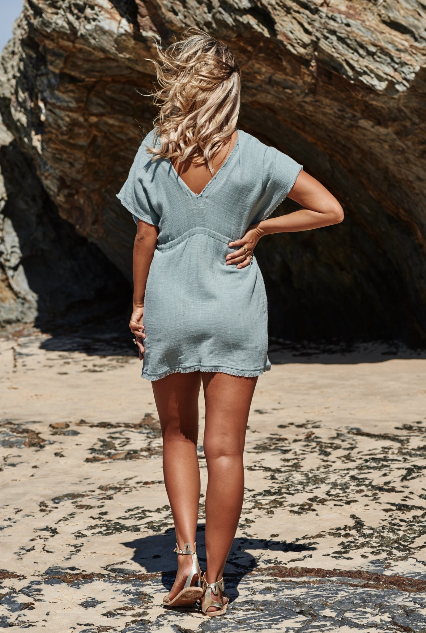 Akosee Pale Blue Beach Cover-up Kaftan Dress