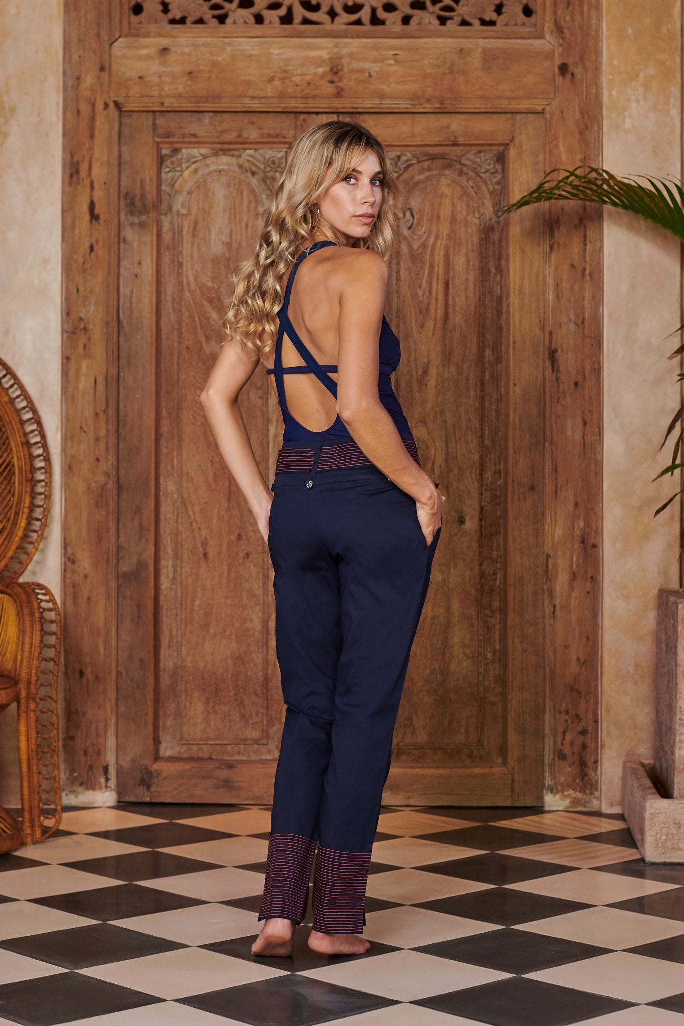 Siren Navy Blue Slim Leg Trousers