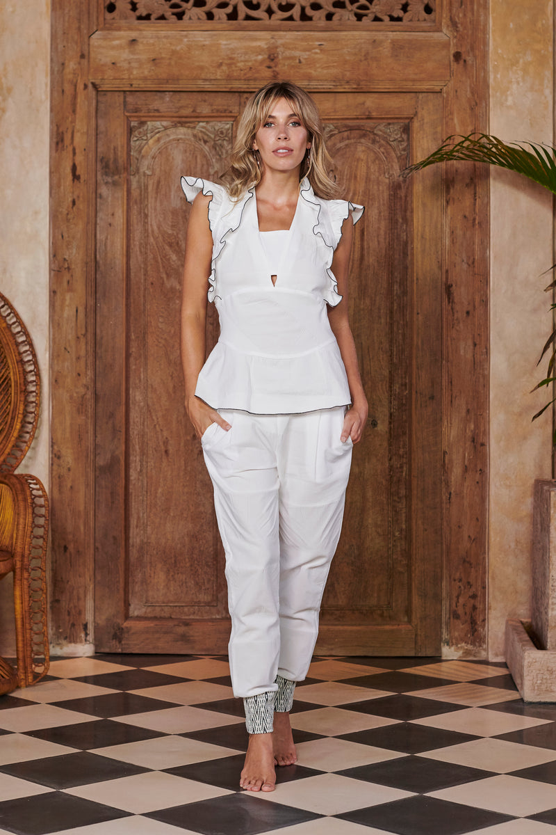 Siren White Frills Top