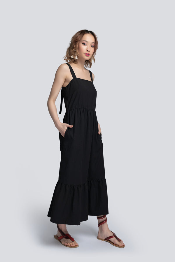 Tiered Sundress in Black Viscose
