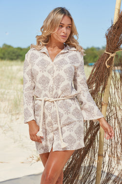 Wategos Shirt Dress in Ivory and Mauve Paisley
