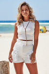 Akosee Paperbag High Waist Frill Shorts in White