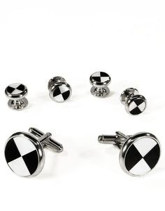 Black & White Circular Onyx and Mother of Pearl Triangles with Silver Trim Studs and Cufflinks Set