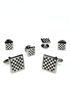 Black & White Square Onyx and Mother of Pearl Checkerboard with Silver Trim Studs and Cufflinks Set