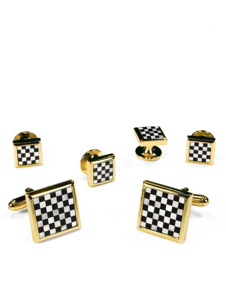 Black & White Square Onyx and Mother of Pearl Checkerboard with Gold Trim Studs and Cufflinks Set