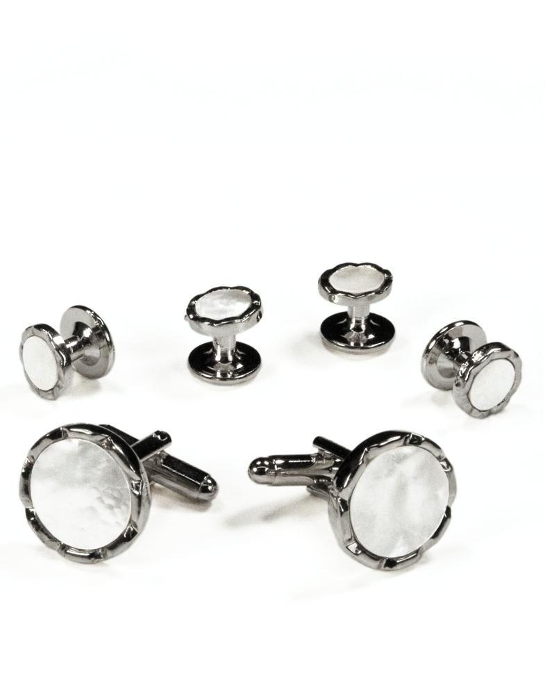 White Circular Mother of Pearl with Silver Diamond Cut Edge Studs and Cufflinks Set