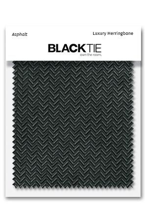 Asphalt Herringbone Fabric Swatch