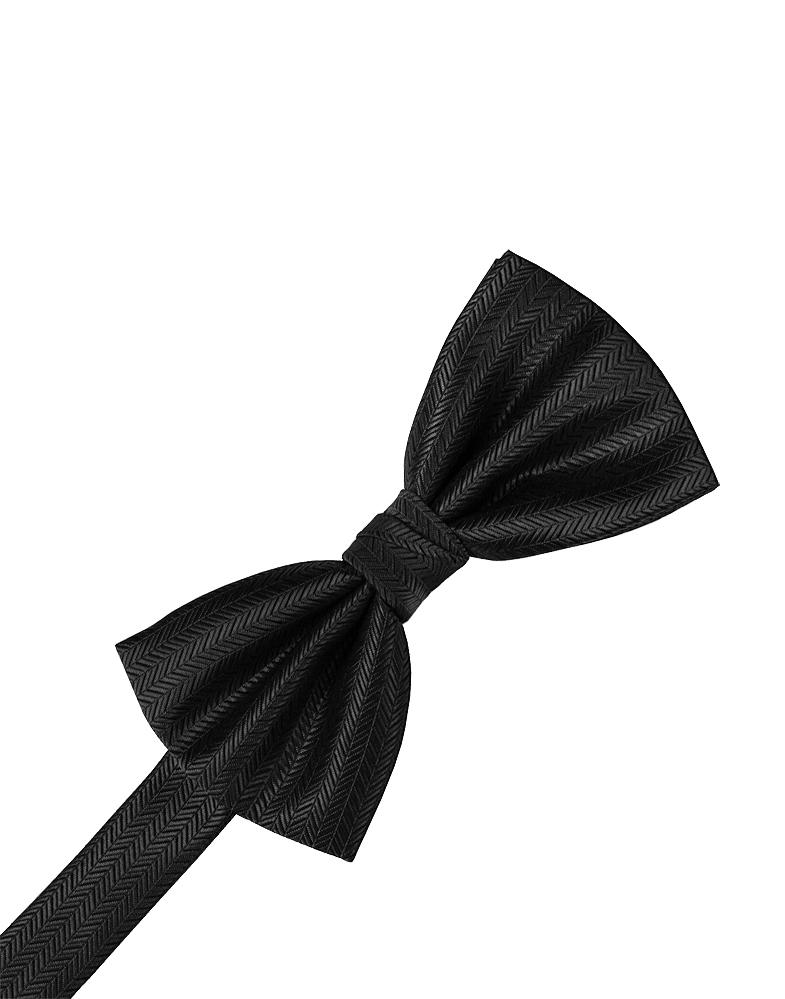 Black Herringbone Bow Tie
