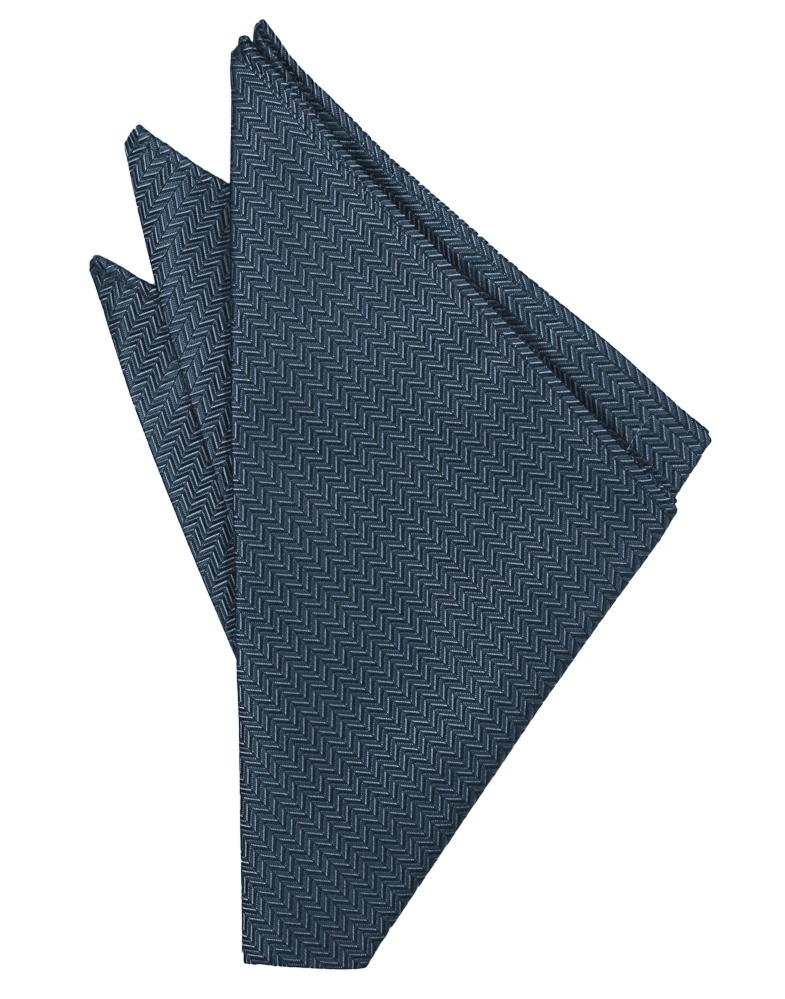 Haze Blue Herringbone Pocket Square