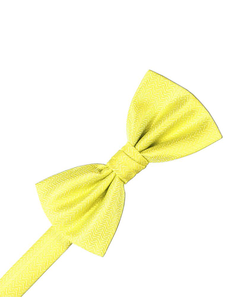 Lemon Herringbone Bow Tie