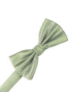 Mint Herringbone Bow Tie