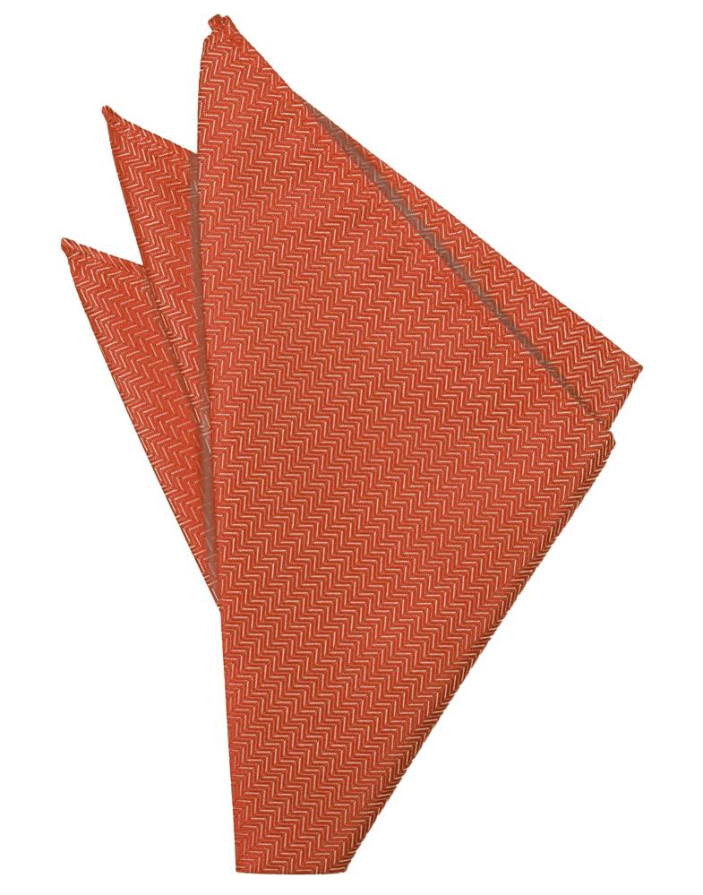Persimmon Herringbone Pocket Square