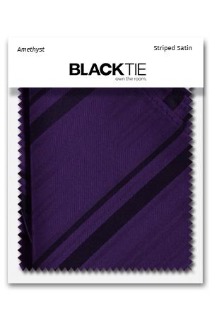 Amethyst Striped Satin Fabric Swatch