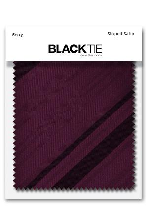 Berry Striped Satin Fabric Swatch